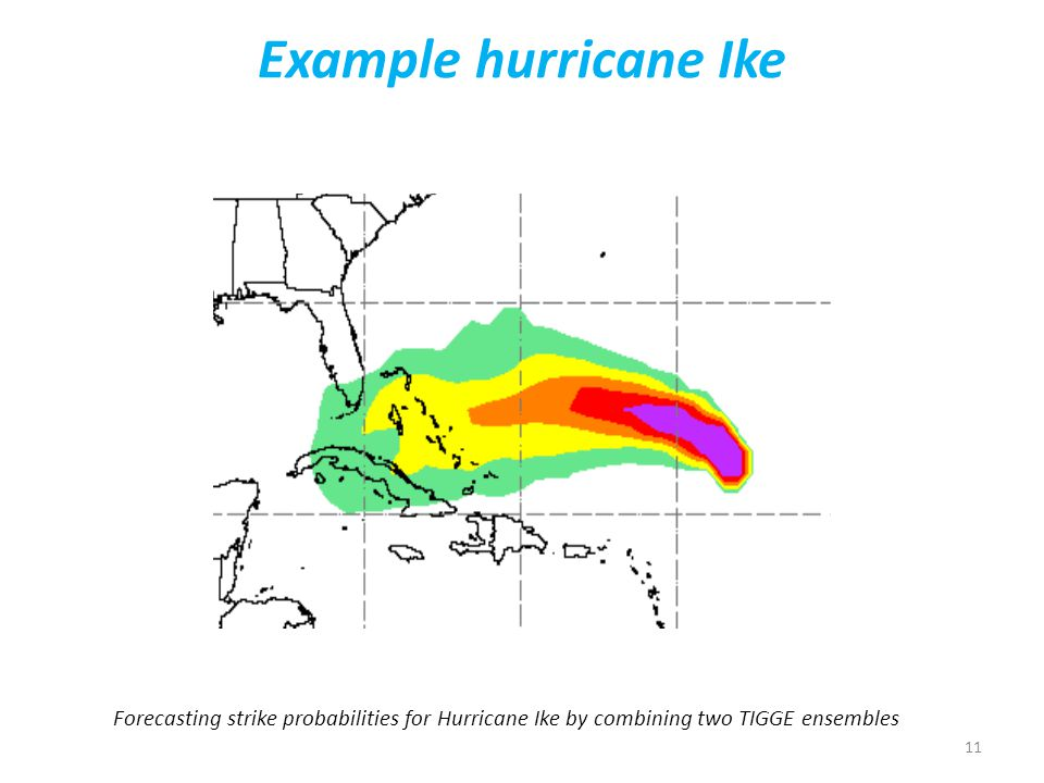 11 Example hurricane Ike Forecasting strike probabilities for Hurricane Ike by combining two TIGGE ensembles