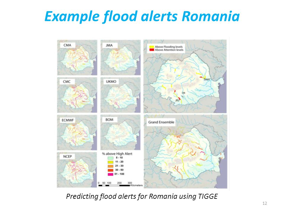 12 Example flood alerts Romania Predicting flood alerts for Romania using TIGGE