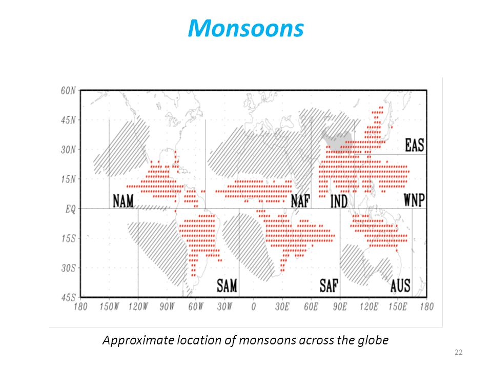 22 Monsoons Approximate location of monsoons across the globe