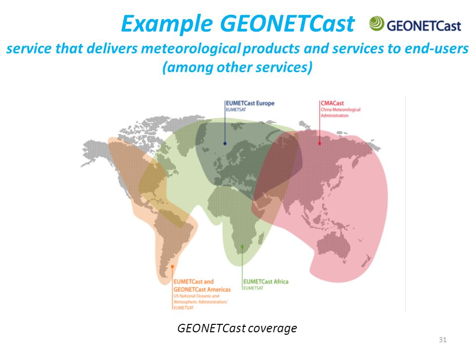 31 Example GEONETCast service that delivers meteorological products and services to end-users (among other services) GEONETCast coverage