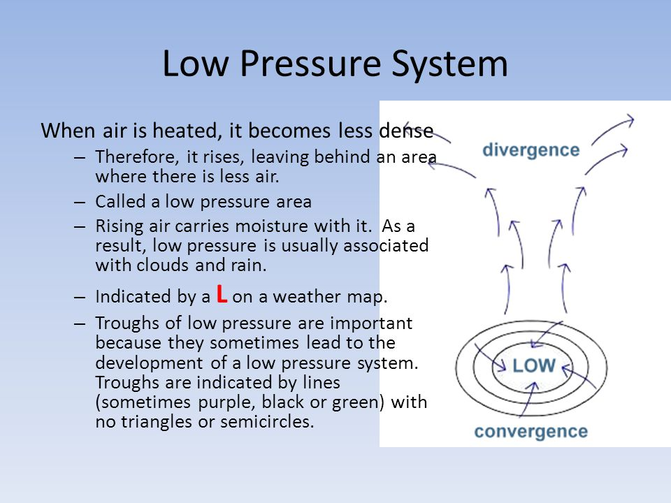 Low Pressure System When air is heated, it becomes less dense – Therefore, it rises, leaving behind an area where there is less air. – Called a low pr
