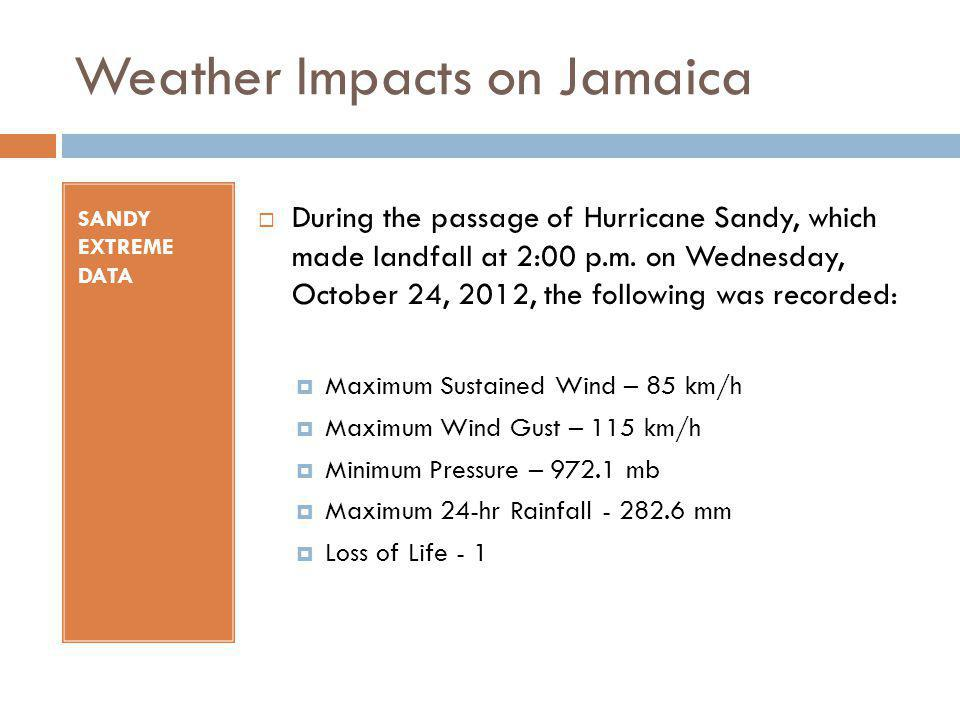 Weather Impacts on Jamaica SANDY EXTREME DATA During the passage of Hurricane Sandy, which made landfall at 2:00 p.m. on Wednesday, October 24, 2012,