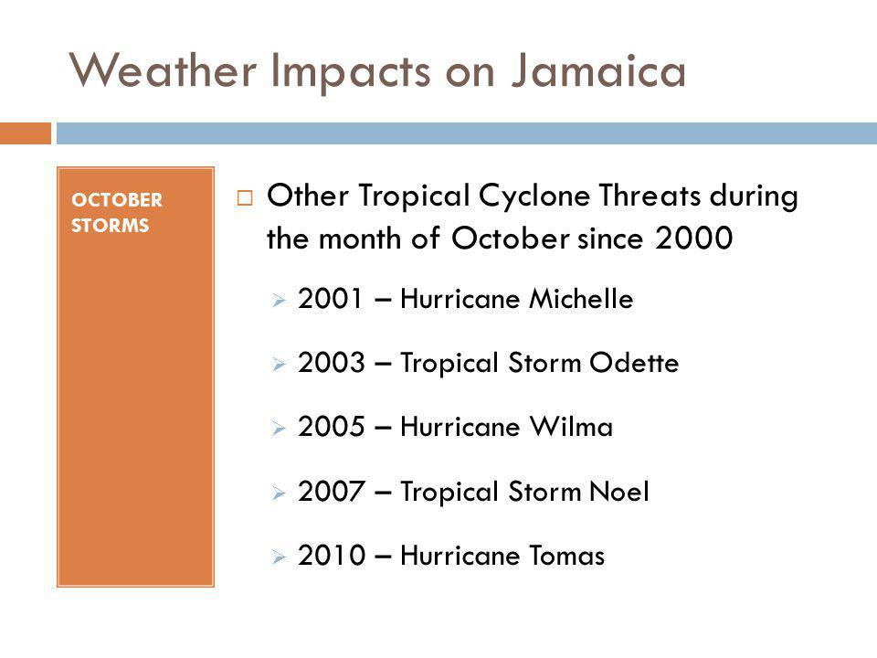 Weather Impacts on Jamaica OCTOBER STORMS Other Tropical Cyclone Threats during the month of October since 2000 2001 – Hurricane Michelle 2003 – Tropi