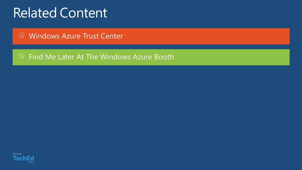 Windows Azure Trust Center Find Me Later At The Windows Azure Booth