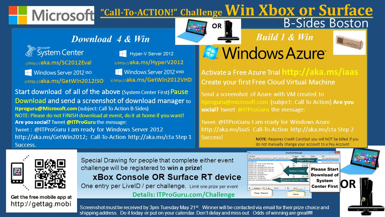 Download 4 & Win Call-To-ACTION! Challenge Win Xbox or Surface Special Drawing for people that complete either event challenge will be registered to w