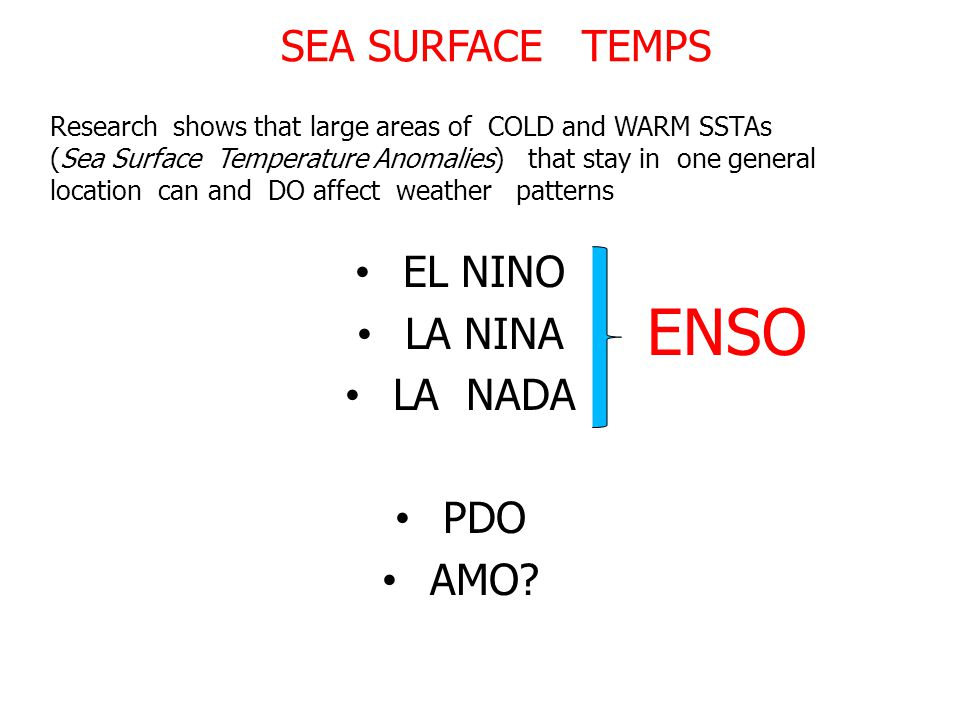 SEA SURFACE TEMPS Research shows that large areas of COLD and WARM SSTAs (Sea Surface Temperature Anomalies) that stay in one general location can and DO affect weather patterns EL NINO LA NINA LA NADA PDO AMO.