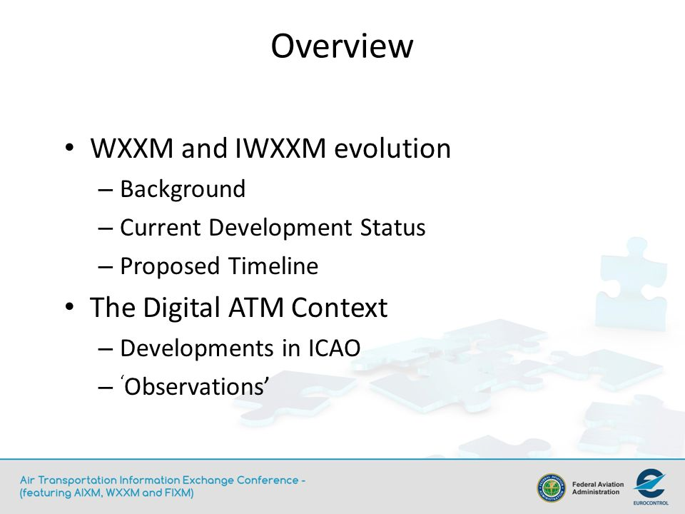 WXXM and IWXXM evolution – Background – Current Development Status – Proposed Timeline The Digital ATM Context – Developments in ICAO – Observations O