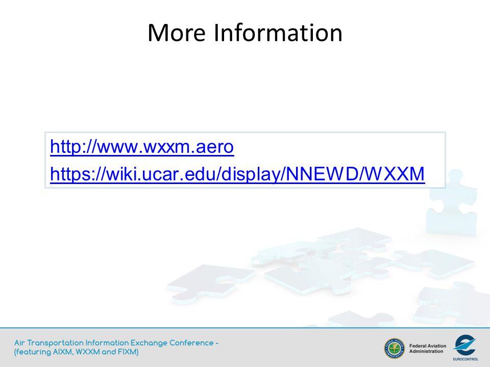 http://www.wxxm.aero https://wiki.ucar.edu/display/NNEWD/WXXM More Information