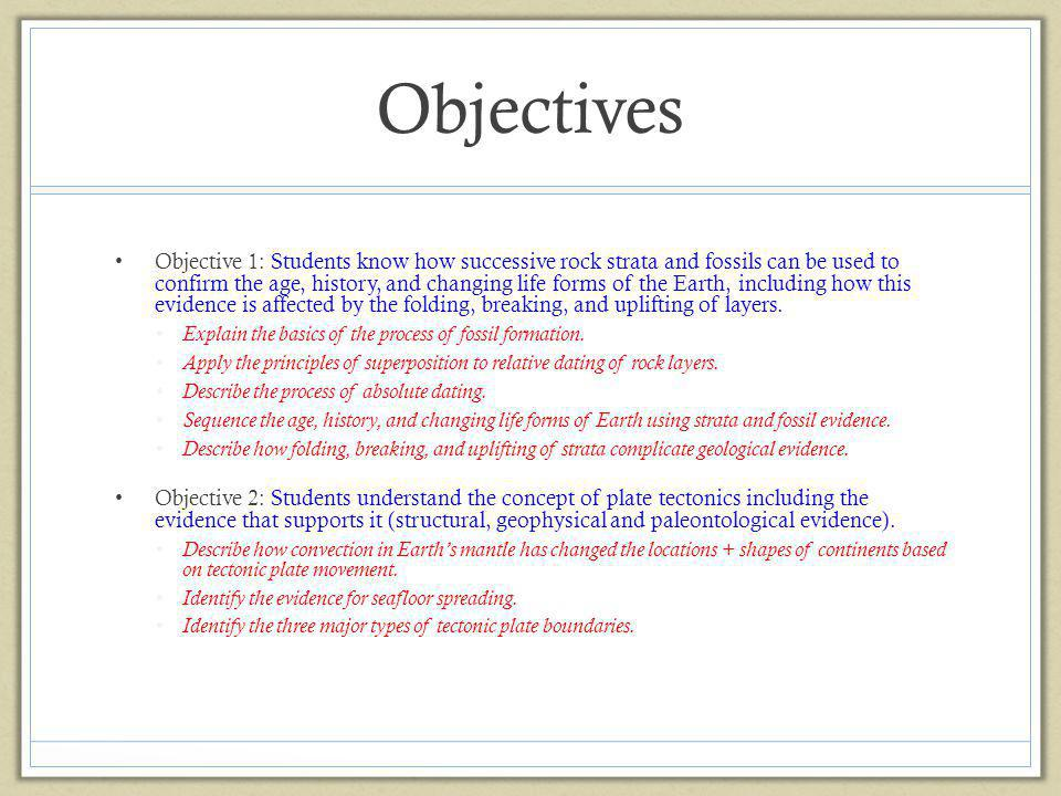 Objectives Objective 1: Students know how successive rock strata and fossils can be used to confirm the age, history, and changing life forms of the E