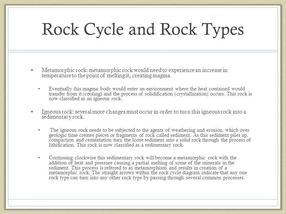 Rock Cycle and Rock Types Metamorphic rock: metamorphic rock would need to experience an increase in temperature to the point of melting it, creating