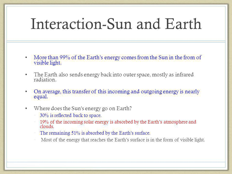 Interaction-Sun and Earth More than 99% of the Earths energy comes from the Sun in the from of visible light. The Earth also sends energy back into ou