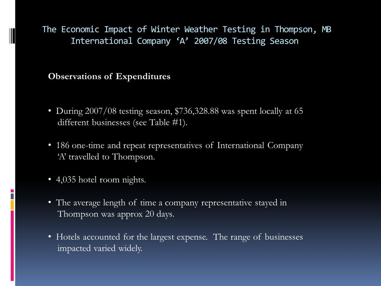 The Economic Impact of Winter Weather Testing in Thompson, MB International Company A 2007/08 Testing Season Observations of Expenditures During 2007/