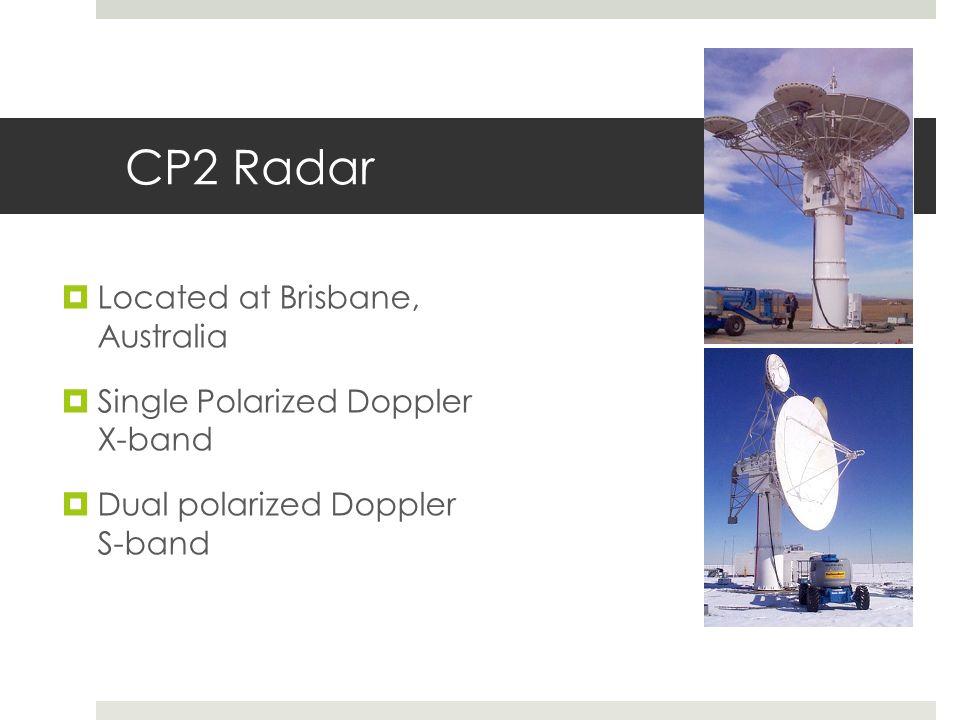 CP2 Radar Located at Brisbane, Australia Single Polarized Doppler X-band Dual polarized Doppler S-band