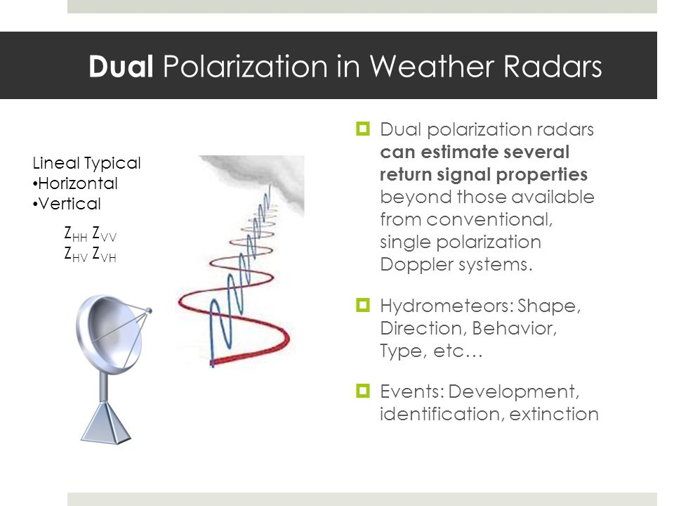 Dual Polarization in Weather Radars Dual polarization radars can estimate several return signal properties beyond those available from conventional, s