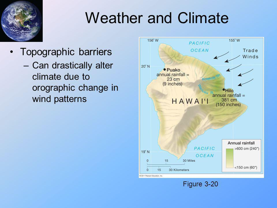 Weather and Climate Topographic barriers –Can drastically alter climate due to orographic change in wind patterns Figure 3-20
