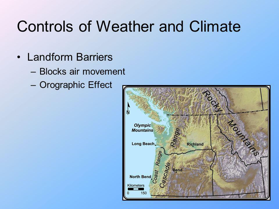 Controls of Weather and Climate Landform Barriers –Blocks air movement –Orographic Effect
