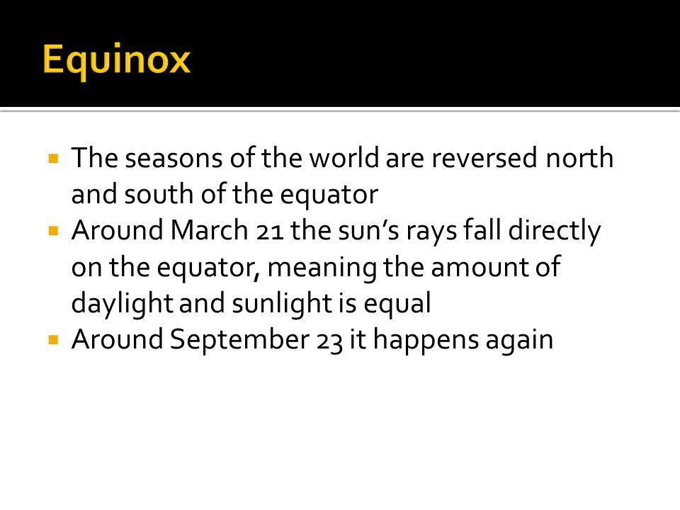 The seasons of the world are reversed north and south of the equator Around March 21 the suns rays fall directly on the equator, meaning the amount of