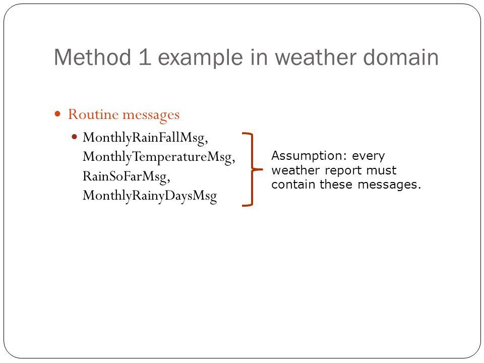 Method 1 example in weather domain Routine messages MonthlyRainFallMsg, MonthlyTemperatureMsg, RainSoFarMsg, MonthlyRainyDaysMsg Assumption: every wea
