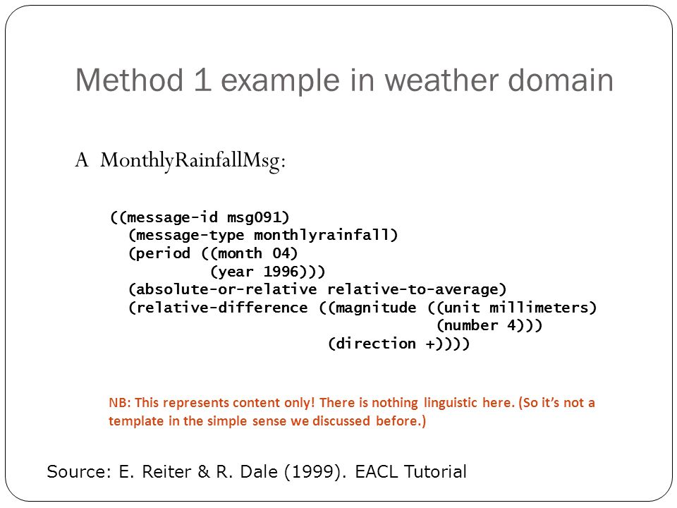 Method 1 example in weather domain A MonthlyRainfallMsg: ((message-id msg091) (message-type monthlyrainfall) (period ((month 04) (year 1996))) (absolu
