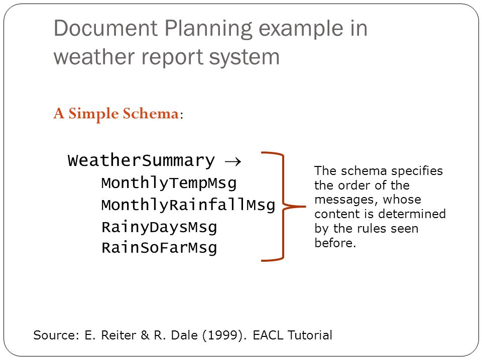 Document Planning example in weather report system A Simple Schema: WeatherSummary MonthlyTempMsg MonthlyRainfallMsg RainyDaysMsg RainSoFarMsg Source: