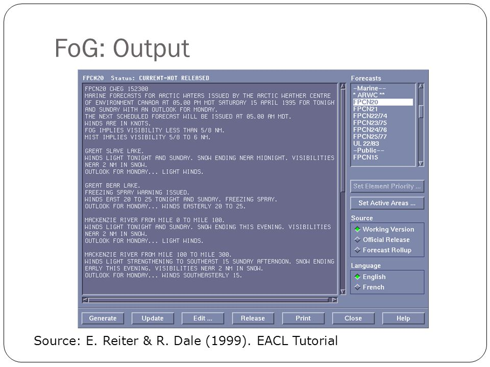 FoG: Output Source: E. Reiter & R. Dale (1999). EACL Tutorial