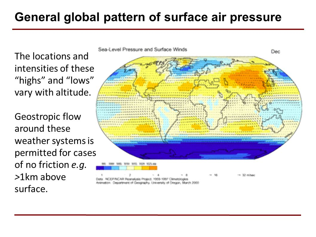 General global pattern of surface air pressure The locations and intensities of these highs and lows vary with altitude.