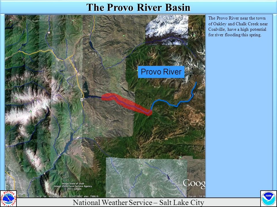 Provo River The Provo River Basin The Provo River near the town of Oakley and Chalk Creek near Coalville, have a high potential for river flooding this spring.