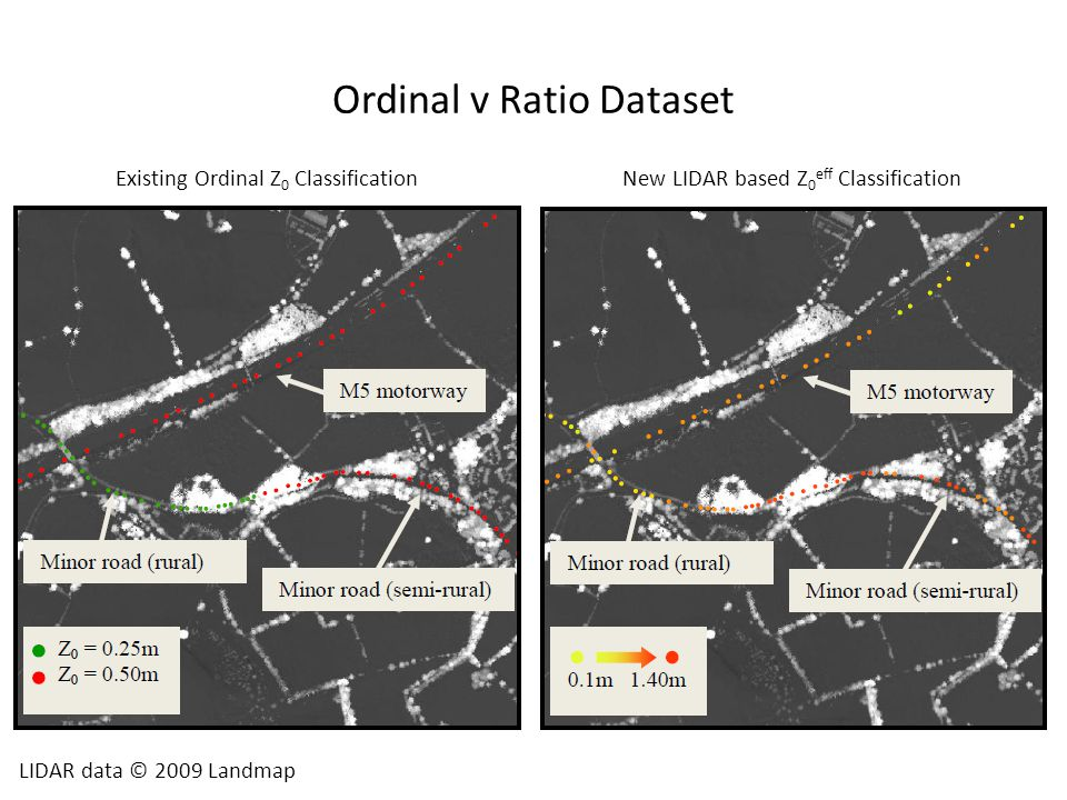 Ordinal v Ratio Dataset LIDAR data © 2009 Landmap Existing Ordinal Z 0 ClassificationNew LIDAR based Z 0 eff Classification