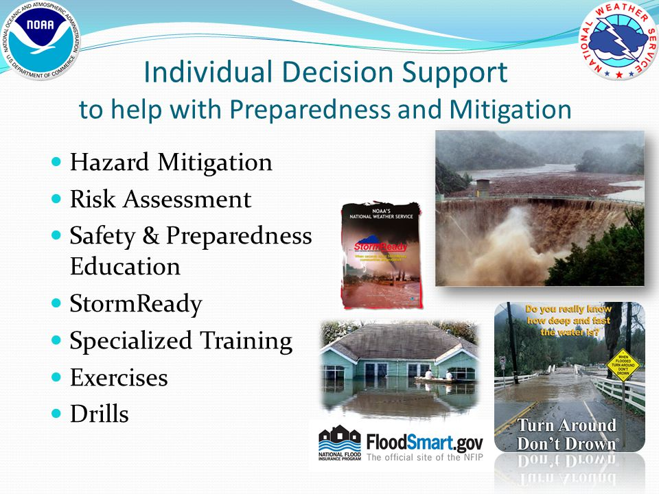 Individual Decision Support to help with Preparedness and Mitigation Hazard Mitigation Risk Assessment Safety & Preparedness Education StormReady Specialized Training Exercises Drills