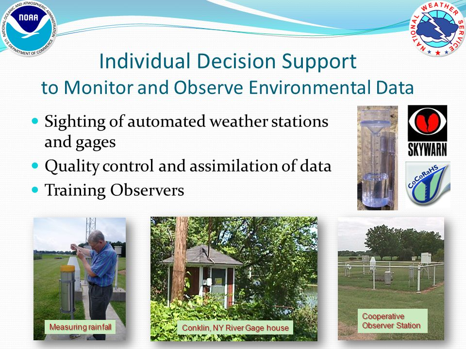 Sighting of automated weather stations and gages Quality control and assimilation of data Training Observers Individual Decision Support to Monitor and Observe Environmental Data Conklin, NY River Gage house Cooperative Observer Station Measuring rainfall