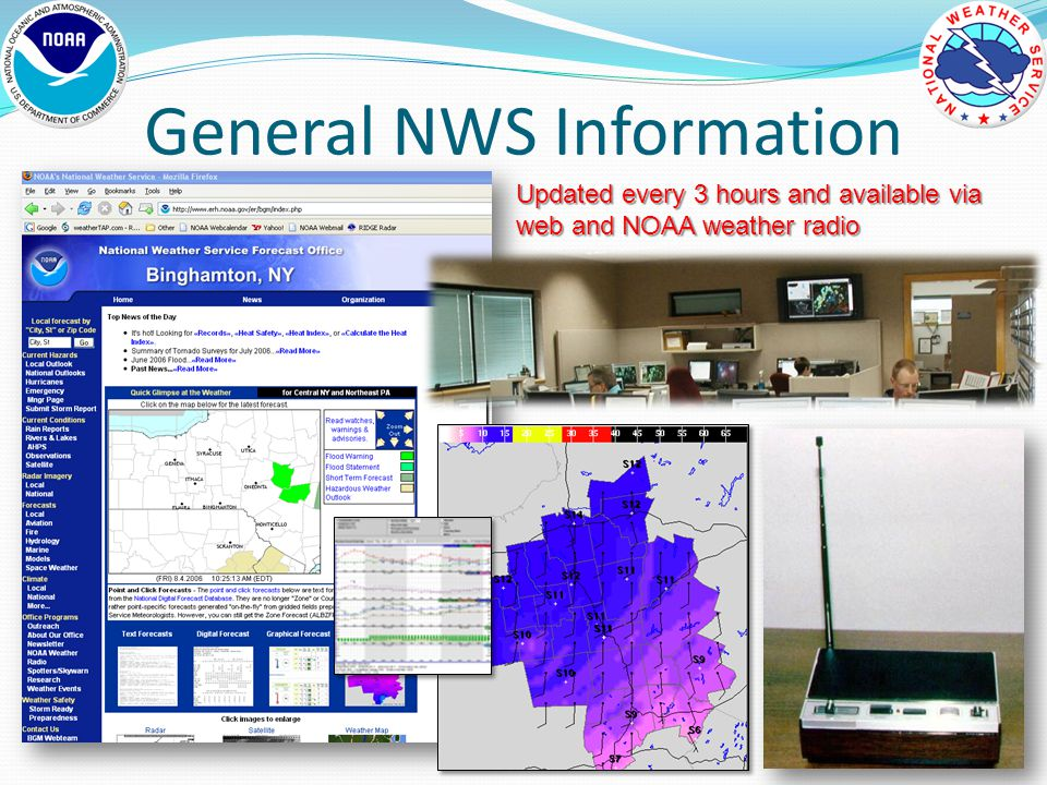 General NWS Information Updated every 3 hours and available via web and NOAA weather radio