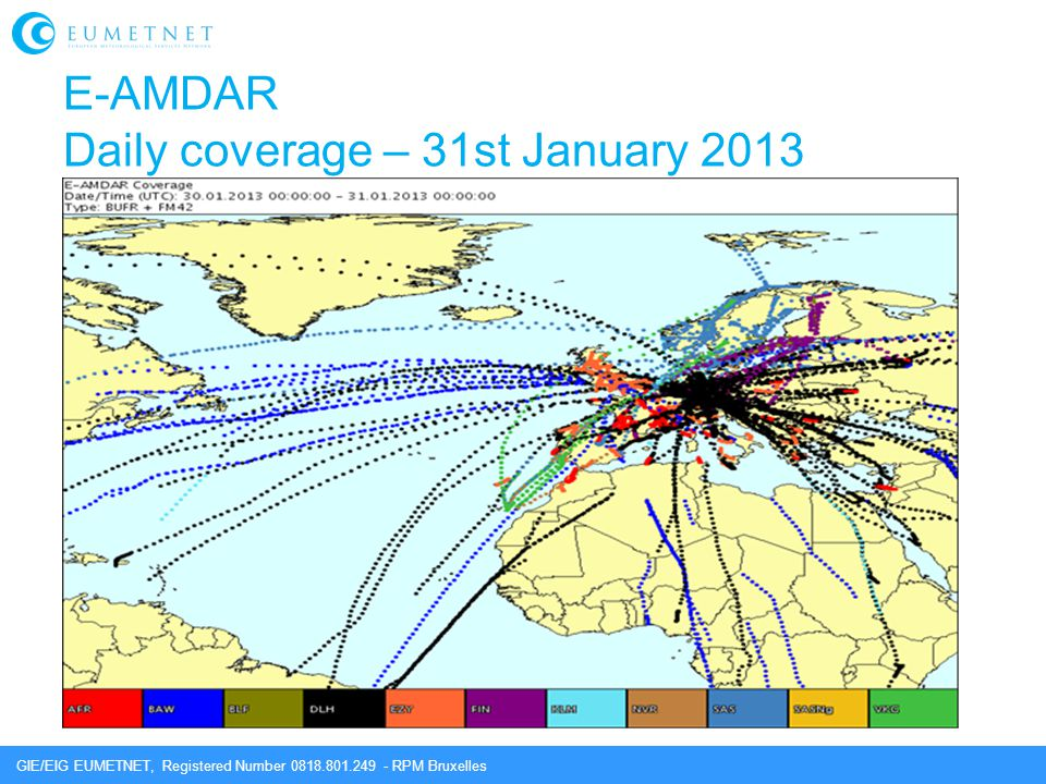 GIE/EIG EUMETNET, Registered Number 0818.801.249 - RPM Bruxelles E-AMDAR Daily coverage – 31st January 2013