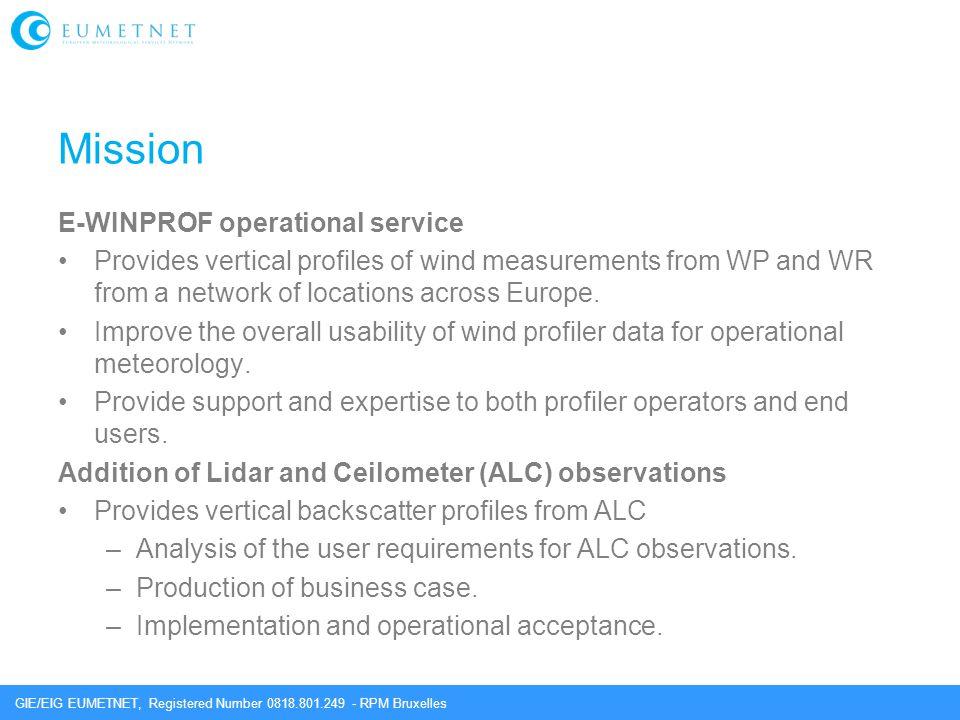 GIE/EIG EUMETNET, Registered Number 0818.801.249 - RPM Bruxelles Mission E-WINPROF operational service Provides vertical profiles of wind measurements