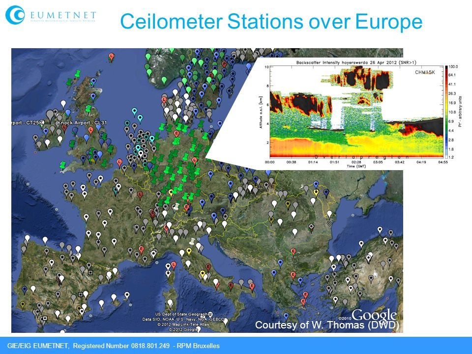 GIE/EIG EUMETNET, Registered Number 0818.801.249 - RPM Bruxelles Ceilometer Stations over Europe Courtesy of W. Thomas (DWD)