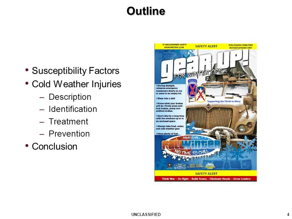 Outline 4 UNCLASSIFIED Susceptibility Factors Cold Weather Injuries –Description –Identification –Treatment –Prevention Conclusion