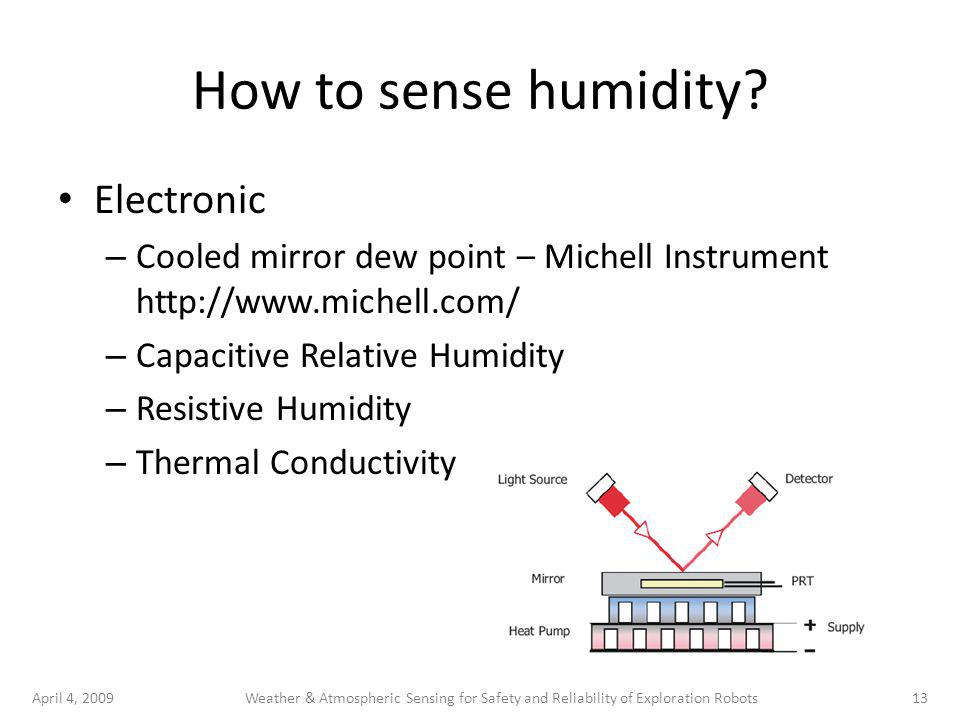 April 4, 200913Weather & Atmospheric Sensing for Safety and Reliability of Exploration Robots How to sense humidity.