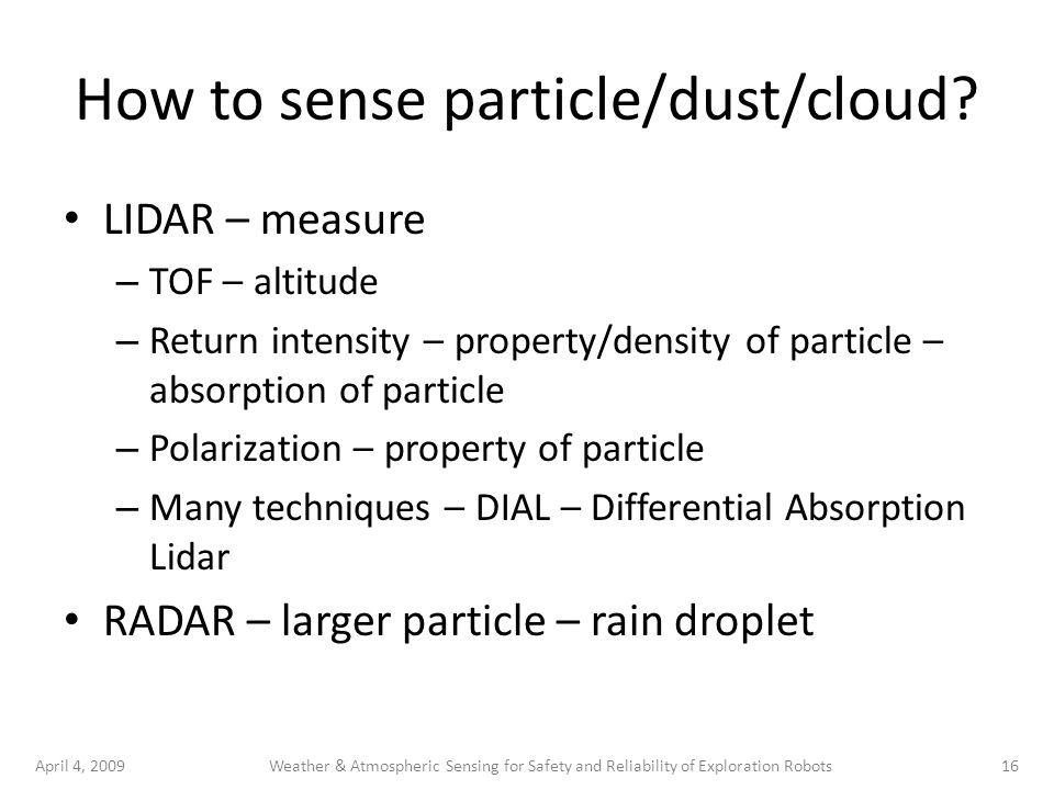April 4, 200916Weather & Atmospheric Sensing for Safety and Reliability of Exploration Robots How to sense particle/dust/cloud? LIDAR – measure – TOF