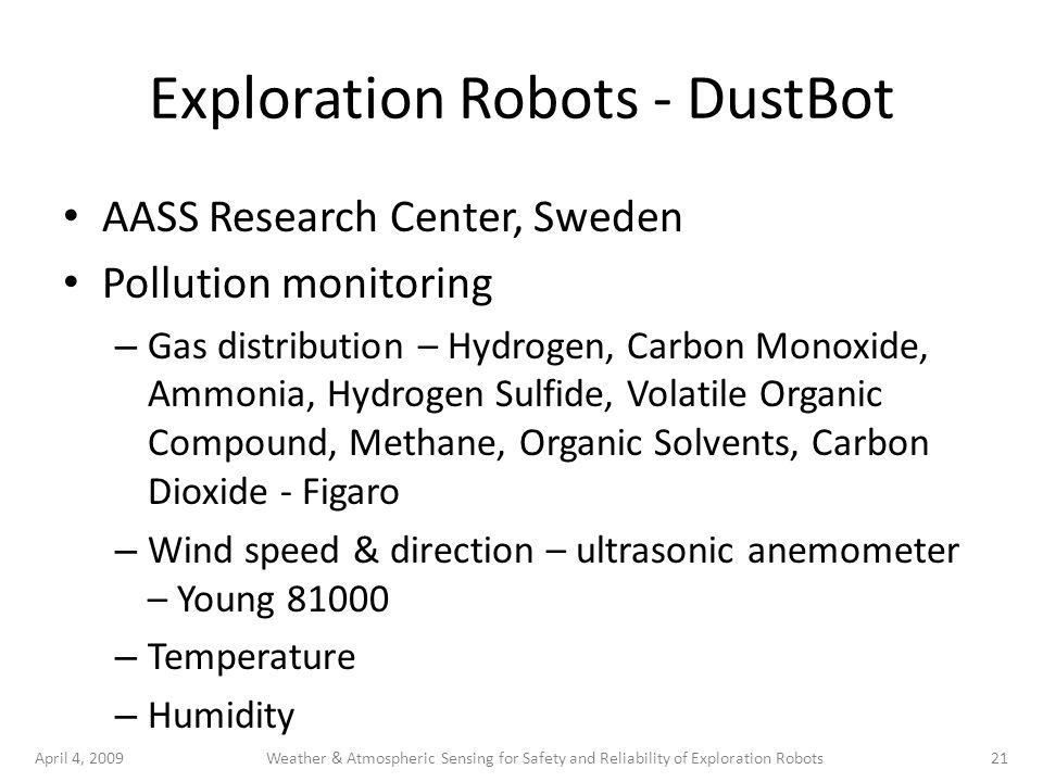 April 4, 200921Weather & Atmospheric Sensing for Safety and Reliability of Exploration Robots Exploration Robots - DustBot AASS Research Center, Swede