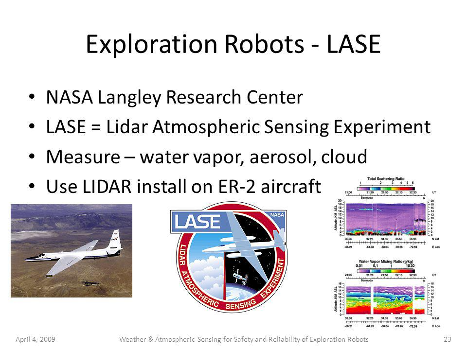 April 4, 200923Weather & Atmospheric Sensing for Safety and Reliability of Exploration Robots Exploration Robots - LASE NASA Langley Research Center LASE = Lidar Atmospheric Sensing Experiment Measure – water vapor, aerosol, cloud Use LIDAR install on ER-2 aircraft