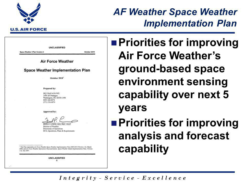 I n t e g r i t y - S e r v i c e - E x c e l l e n c e AF Weather Space Weather Implementation Plan Priorities for improving Air Force Weathers ground-based space environment sensing capability over next 5 years Priorities for improving analysis and forecast capability