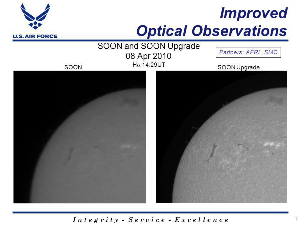 I n t e g r i t y - S e r v i c e - E x c e l l e n c e Improved Optical Observations 7 H 14:29UT SOON and SOON Upgrade 08 Apr 2010 SOONSOON Upgrade P