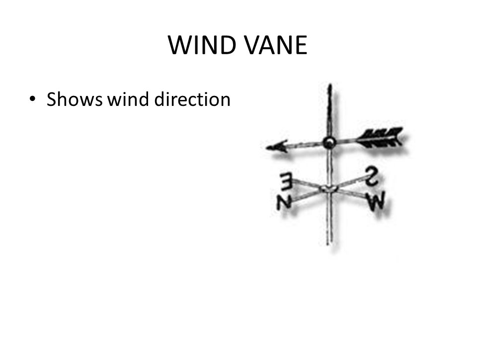 WIND VANE Shows wind direction