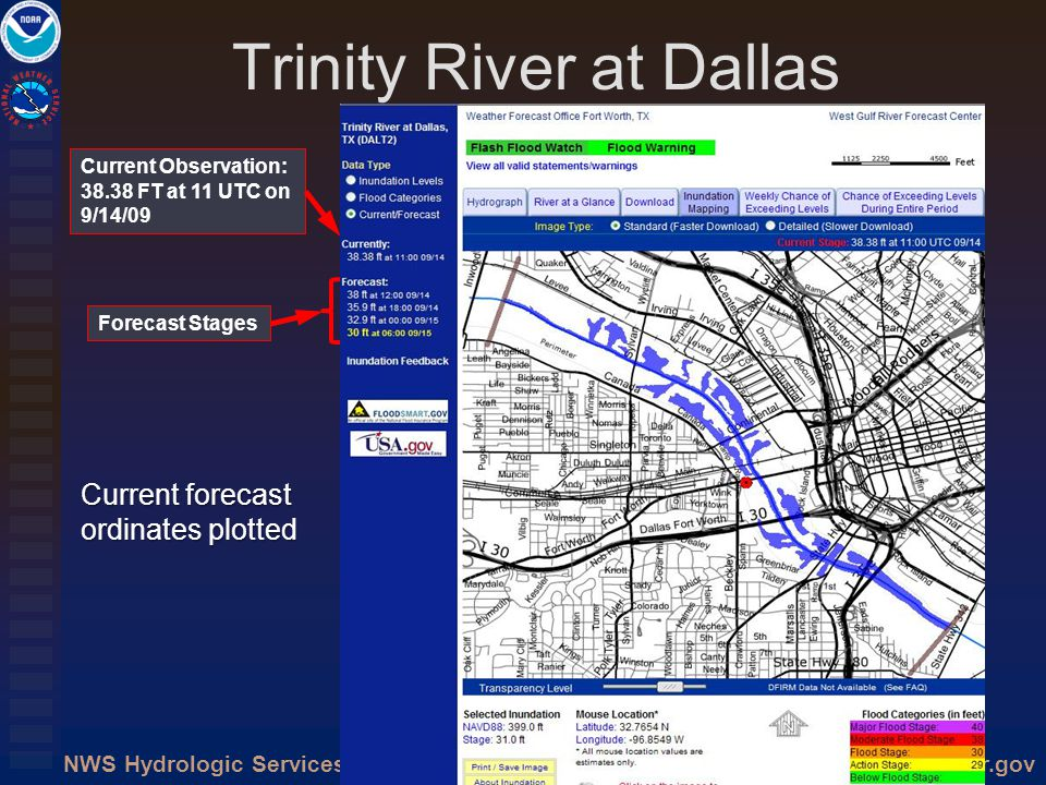 http://water.weather.govNWS Hydrologic Services Trinity River at Dallas Current Observation: 38.38 FT at 11 UTC on 9/14/09 Forecast Stages Current for