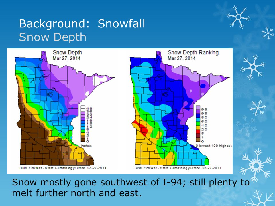 Background: Snowfall Snow Depth Snow mostly gone southwest of I-94; still plenty to melt further north and east.