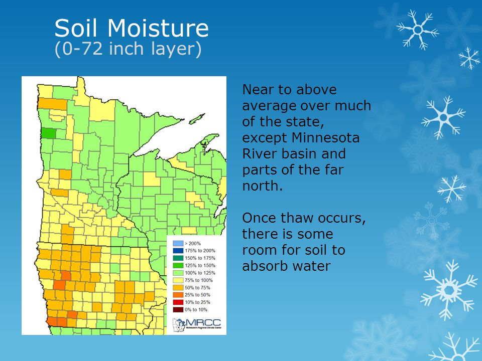 Soil Moisture (0-72 inch layer) Near to above average over much of the state, except Minnesota River basin and parts of the far north.
