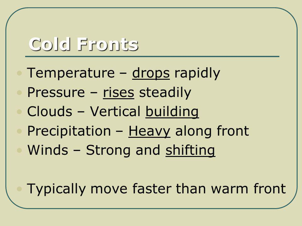 Cold Fronts Temperature – drops rapidly Pressure – rises steadily Clouds – Vertical building Precipitation – Heavy along front Winds – Strong and shif