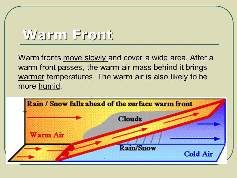 Warm Front Warm fronts move slowly and cover a wide area. After a warm front passes, the warm air mass behind it brings warmer temperatures. The warm