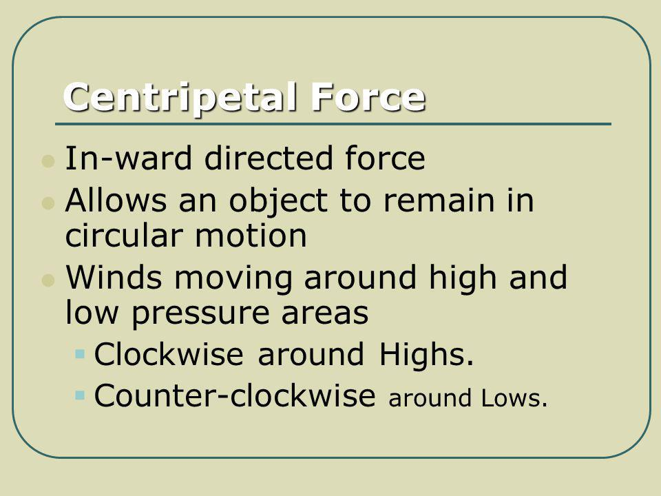 Centripetal Force In-ward directed force Allows an object to remain in circular motion Winds moving around high and low pressure areas Clockwise aroun
