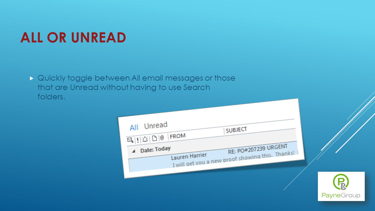 ALL OR UNREAD Quickly toggle between All email messages or those that are Unread without having to use Search folders.