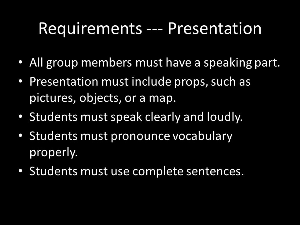 Additional Info You may either videotape your presentation or present in front of the class.